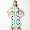 Simple Painterly Pattern in Yellow and Blue (Dress)