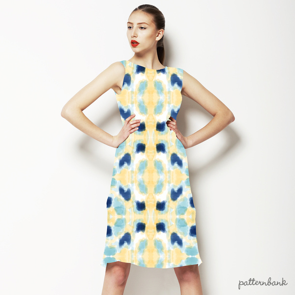 Simple Painterly Pattern in Yellow and Blue