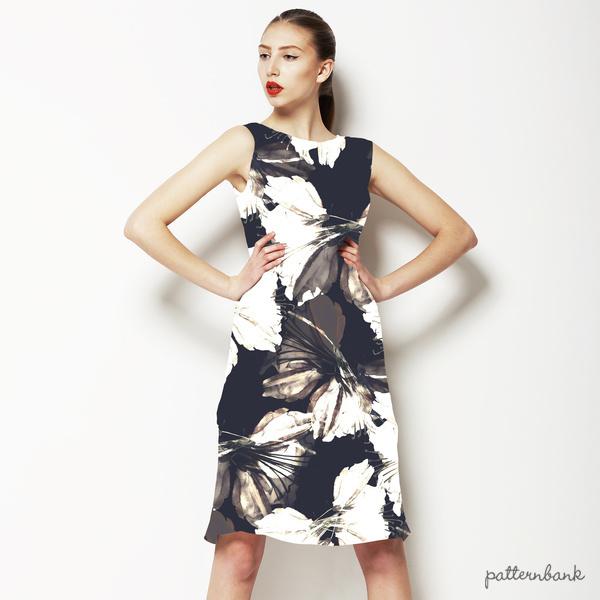Seamless Vintage Sepia Black White Butterflies Textile