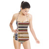 Unique Encaustic Mirrored Stripes and Checks (Swimsuit)