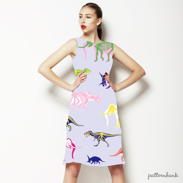 Multicolor Pattern With Dinosaurs and Mammoth