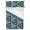 Triangle Repeat Pattern Blue Green Orange Wood Texture (Bed)
