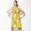 Mustard Yellow Strokes With Pixelated Rose (Dress)