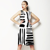 Brushed Black Hand Drawn Stripes in a Seamless Pattern. (Dress)