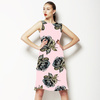 Pale Pink & Grey Rose Geo Pop Print Repeat (Dress)