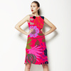 Hot Pink Tropical Drawn Style Floral Blooms (Dress)