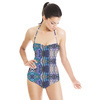 Purple Textured Palm Leaf Pattern (Swimsuit)