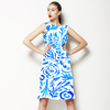 Bohemian Painted Paisley Blue Hand Drawn Arts and Crafts (Dress)