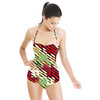 Blocking Color and Stripes No2 Modern Christmas Stripes Pattern Background (Swimsuit)