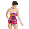 Activewear Pink Purple Abstract (Swimsuit)