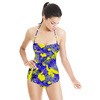 Abstract Colorfull Inspired Irregular Floral Abstrac Textile (Swimsuit)