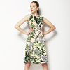(Des 025) Watercolor Leaves in Textured Background (Dress)