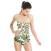 (Des 025) Watercolor Leaves in Textured Background (Swimsuit)