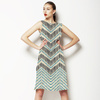Ikat Lined Chevron With Faux Embroidery (Dress)