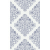 Outlined Damask Doodle in Oxford Blue on Honeydew White (Original)