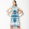 Indigo Blue Shibori Tie-Dye Pattern (Dress)