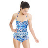 Hand Dyed Circles White Blue (Swimsuit)