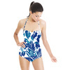 Tropical Leaves Blue Silhouettes (Swimsuit)