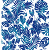 Tropical Leaves Blue Silhouettes (Original)