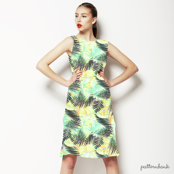 Yellow Green Tropical Leaves Pattern