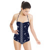 Blue and White Repeat and Border Paisley (Swimsuit)