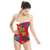 Red Flowers Pattern. Bright Floral Pattern (Swimsuit)