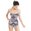 Pastel Tartan Abstract Plaid on White (Swimsuit)