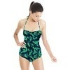 Blue Green Abstract Painterly Naive Floral (Swimsuit)