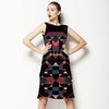 Dark Black Geo Mirrored Pattern Lime (Dress)