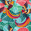 Colorful Seamless Pattern With Decorative Birds and Flowers (Original)