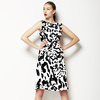 Monochrome Ink Calligraphic Leopard Freehand (Black & White) (Dress)