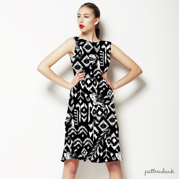 Black and White Tropical Ikat