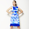 Ink Panted Indigo Blue Craft Boho Border Tie Dye (Dress)