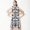 Ink Tie Dye Monochrome Shibori Placement Border (Dress)
