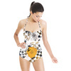 Floral Seamless Pattern With Houndstooth Elements. (Swimsuit)