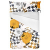 Floral Seamless Pattern With Houndstooth Elements. (Bed)