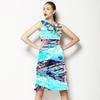 Blue Blur Cut Out Leaves Collage (Dress)