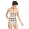 Collage Cut Out Lines White (Swimsuit)