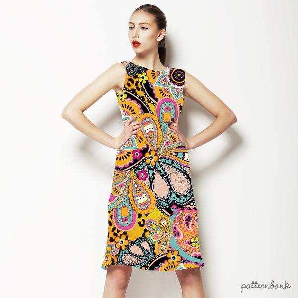Multicoloured Ethnic Digital Paisley