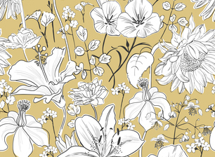 Garden Flowers On Beige Background Monochrome Blow Up By Giedrė Ringelevicienė Seamless Repeat Vector Royalty Free Stock Pattern Patternbank